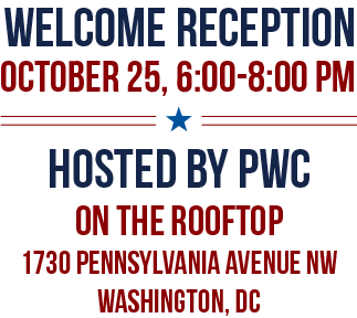 WELCOME RECEPTION, OCTOBER 26, 6:00-9:00 PM, LOCATION TBD